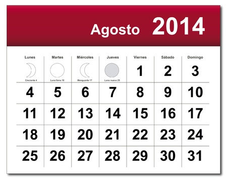 Spanish version of August 2014 calendar.  Stock Vector - 21643846