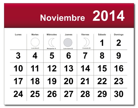 Spanish version of November 2014 calendar Illustration
