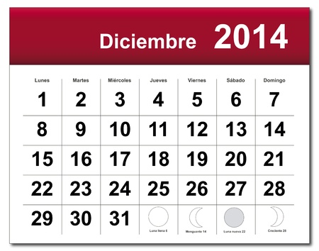 Spanish version of December 2014 calendar. Vector