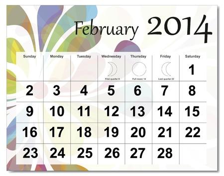 February 2014 calendar. Stock Vector - 21643930