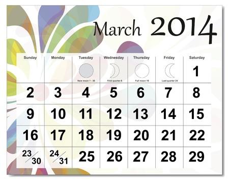 March 2014 calendar.  Stock Vector - 21643937