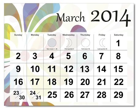 March 2014 calendar. Stock Vector - 21643937