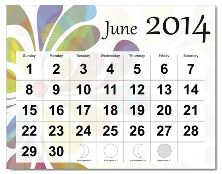 June 2014 calendar. Stock Vector - 21643942