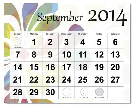 September 2014 calendar. Stock Vector - 21643941