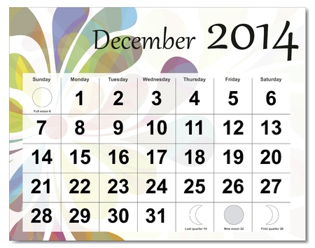 December 2014 calendar. Stock Vector - 21643938