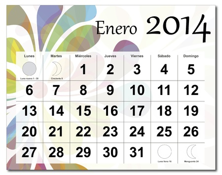 Spanish version of January 2014 calendar  The EPS file includes the version in blue, green and black in different layers  Raster version available in my portfolio  Vector