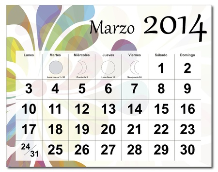 Spanish version of March 2014 calendar  The EPS file includes the version in blue, green and black in different layers  Raster version available in my portfolio  Vector