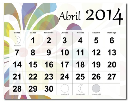 Spanish version of April 2014 calendar  The EPS file includes the version in blue, green and black in different layers  Raster version available in my portfolio  Illustration