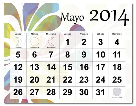 Spanish version of May 2014 calendar  The EPS file includes the version in blue, green and black in different layers  Raster version available in my portfolio  Vector