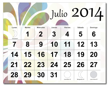 Spanish version of July 2014 calendar  The EPS file includes the version in blue, green and black in different layers  Raster version available in my portfolio  Vector