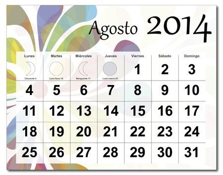 Spanish version of August 2014 calendar  The EPS file includes the version in blue, green and black in different layers  Raster version available in my portfolio  Vector