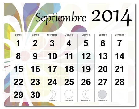 Spanish version of September 2014 calendar  The EPS file includes the version in blue, green and black in different layers  Raster version available in my portfolio  Vector