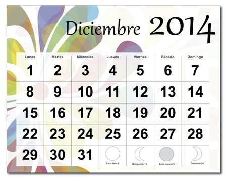 Spanish version of December 2014 calendar  The EPS file includes the version in blue, green and black in different layers  Raster version available in my portfolio