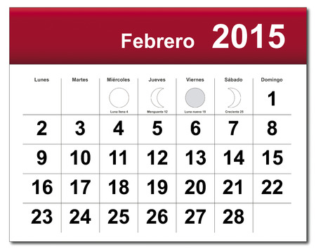 EPS10 file. Spanish version of February 2015 calendar. The EPS file includes the version in blue, green and black in different layers Vector