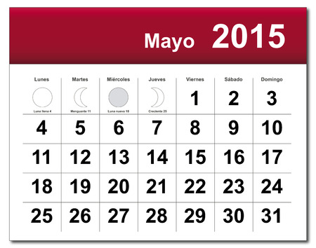 EPS10 file. Spanish version of May 2015 calendar. The EPS file includes the version in blue, green and black in different layers Vector