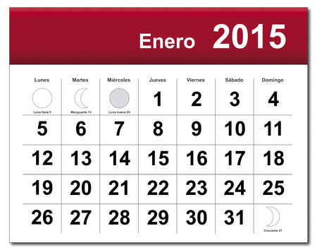 EPS10 file. Spanish version of January 2015 calendar. The EPS file includes the version in blue, green and black in different layers