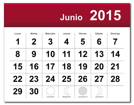 EPS10 file. Spanish version of June 2015 calendar. The EPS file includes the version in blue, green and black in different layers Vector