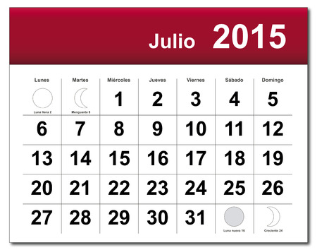 EPS10 file. Spanish version of July 2015 calendar. The EPS file includes the version in blue, green and black in different layers