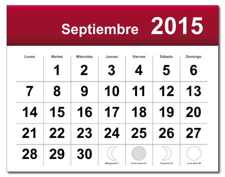 EPS10 file. Spanish version of September 2015 calendar. The EPS file includes the version in blue, green and black in different layers Vector