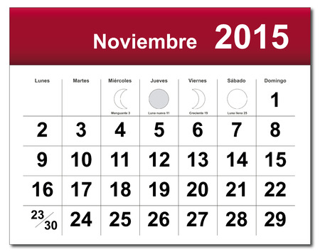 EPS10 file. Spanish version of November 2013 calendar. The EPS file includes the version in blue, green and black in different layers Vector