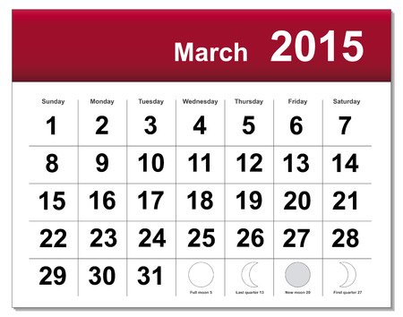March 2015 calendar. The EPS file includes the version in blue, green and black in different layers