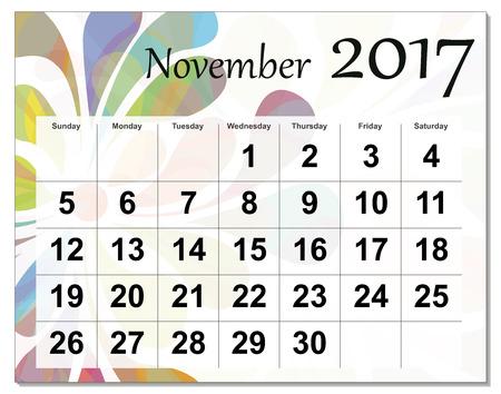 calendario noviembre: De noviembre de 2017 calendario. Vectores