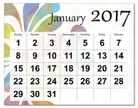 january: January 2017 calendar. Illustration