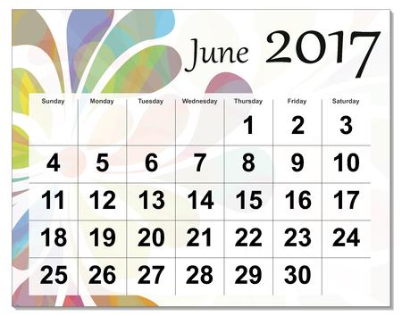 Juin 2017 calendrier. Vecteurs
