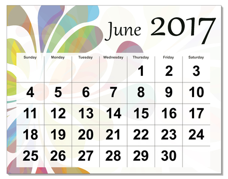 June 2017 calendar. Vektorové ilustrace