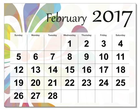 February 2017 calendar. Illustration