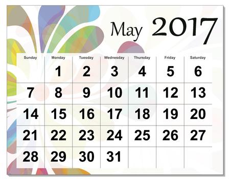 calendario octubre: Mayo de 2017 calendario. Vectores