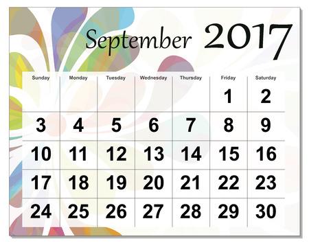 september: September 2017 calendar.