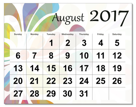 august: August 2017 calendar. Illustration