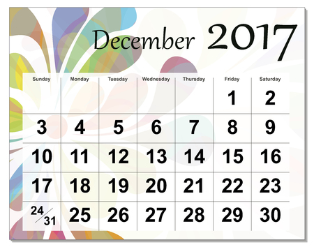 2017年12月日历。