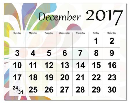 Grudnia 2017 kalendarzowy. Ilustracje wektorowe
