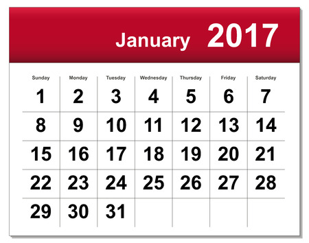 January 2017 calendar.includes the version in blue and black in different layers Illustration