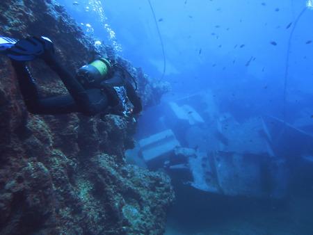 sunken: Scuba diving. sunken ship