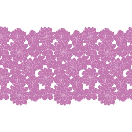 purple flowers seamless border pattern white background