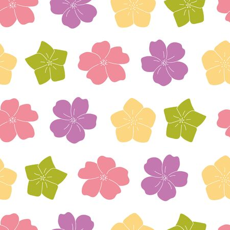 purple, green, yellow flowers garden seamless pattern background