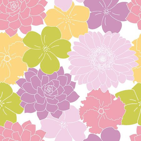 Purple green and yellow flowers garden seamless pattern white background