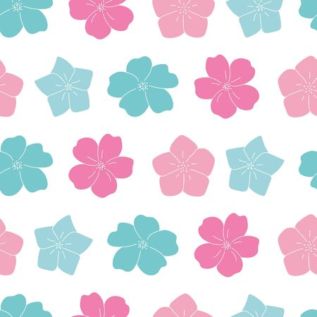 Vector pink and blue lineart flowers seamless pattern white background