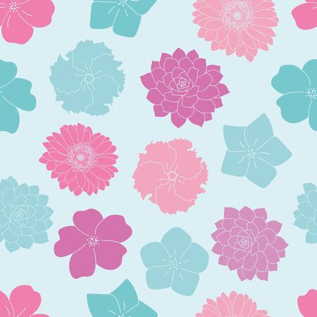 Vector blue and pink flowers seamless pattern blue background