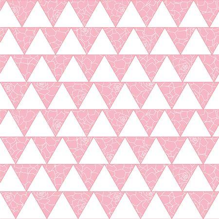 Geometrisches nahtloses Muster der weißen Dreiecke des Vektors mit rosa Blumenhintergrund