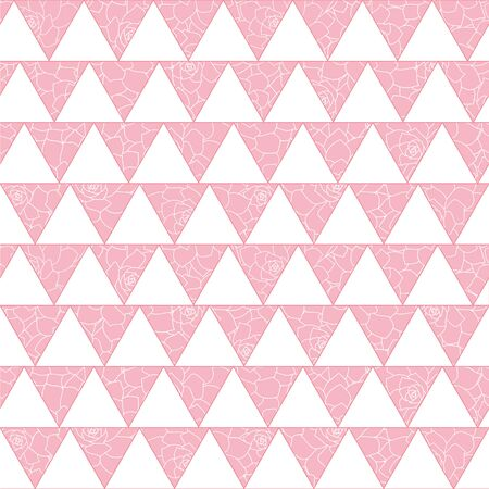 Vector white triangles geometric seamless pattern with pink flowers background