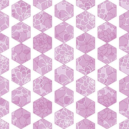 Vector hexagon tile geometric seamless pattern with purple floral background  イラスト・ベクター素材