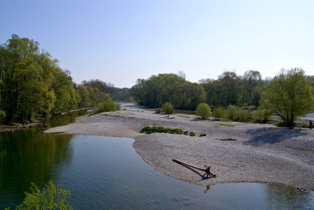 Munich renatured isar beach photo