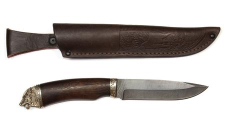 skinning hunting knife damascus steel isolated on white