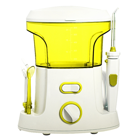 dental calculus: Compact yellow Oral irrigator of the oral cavity intended for washing the garbage and soft dental patch from the interdental spaces. Side nozzles for tongue, delicate cleansing sensitive gums. Dentists recommend taking care of teeth cavity irrigator.