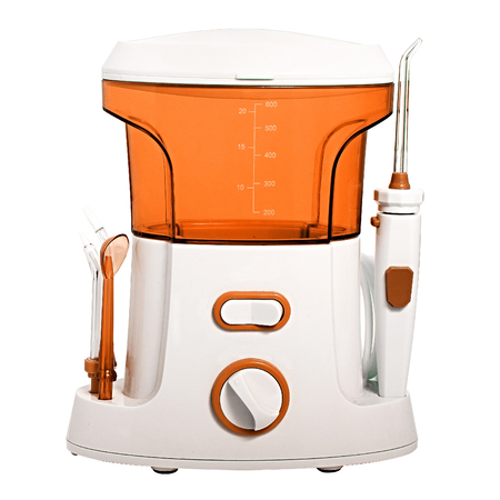 Compact orange Oral irrigator of the oral cavity intended for washing the garbage and soft dental patch from the interdental spaces. Side nozzles for tongue, delicate cleansing sensitive gums. Dentists recommend taking care of teeth cavity irrigator.