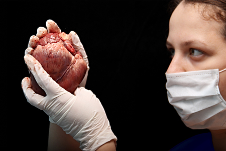 abstract illegal organ transplantation. A human heart in the hand of a surgeon woman. Stock Photo